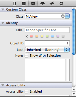 MyView Class Name in Interface Builder